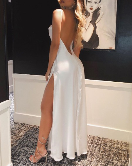 Spaghetti Strap High Slit Open Back Maxi Dress