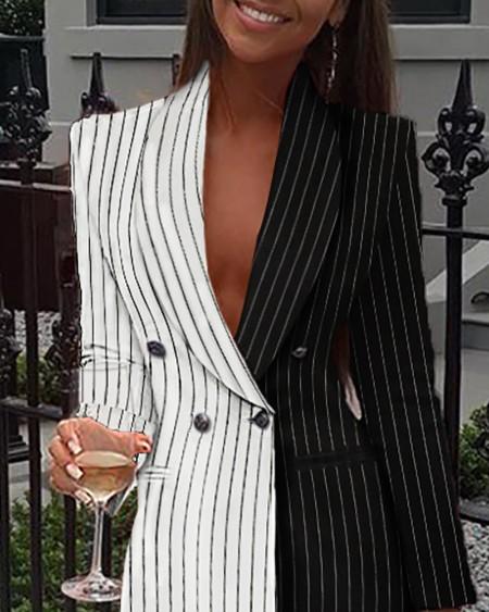 Stripe Patchwork Notched Neck Blazer Dress