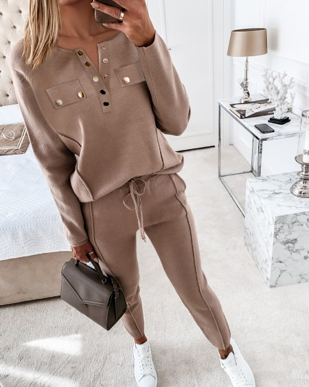 Buttoned Pocket Design Top & Drawstring Pants Set