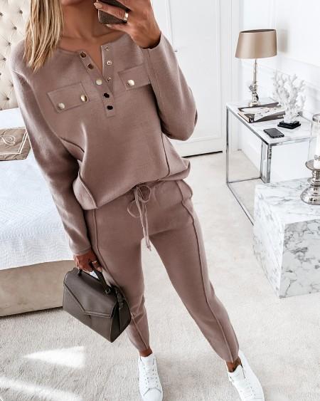 Buttoned Pocket Design Top & Drawstring Pants Set