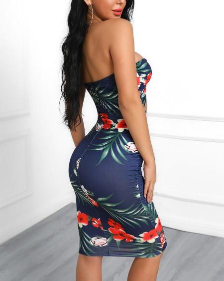 Tropical Print Twisted Cutout Bodycon Dress
