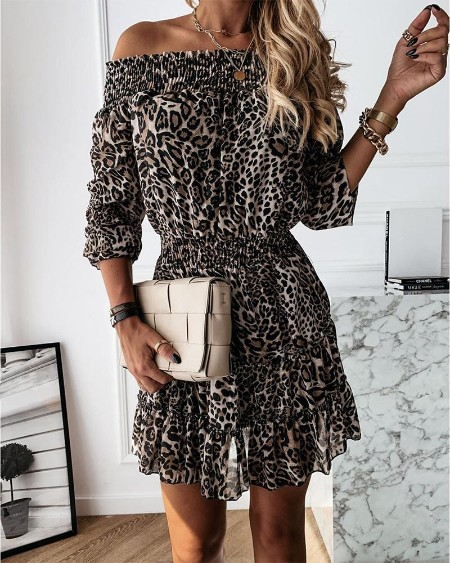 Cheetah Off Shoulder Pleated Dress