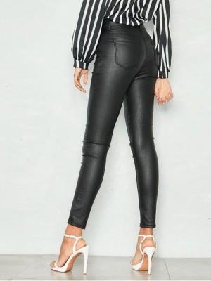 High Waist Pocket PU Pants