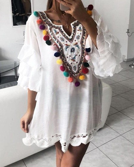 e51bc3d9ab Ethnic Print Pom Poms Tiered Sleeve Casual Dress ...