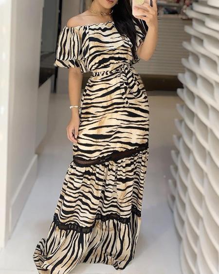 Zebra Print Off Shoulder Ruffles Maxi Dress
