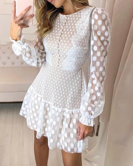 Dot Sheer Mesh Eyelash Lace Dress