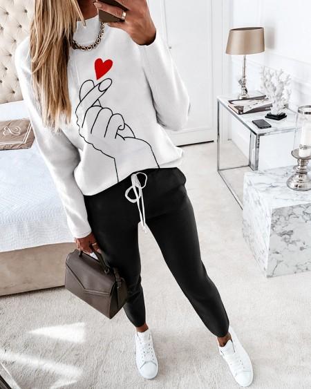 Heart Print Long Sleeve Colorblock Top & Drawstring Waist Pants Set