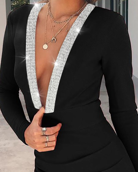 Plunge Glitter Ribbon Ruched Bodycon Dress