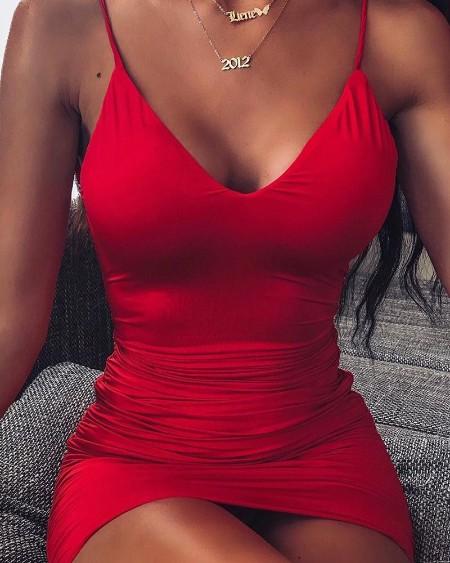 Red Scoop Neck Bodycon Dress