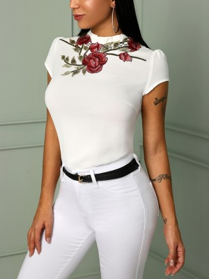 Floral Embroidery Short Sleeve T-Shirt
