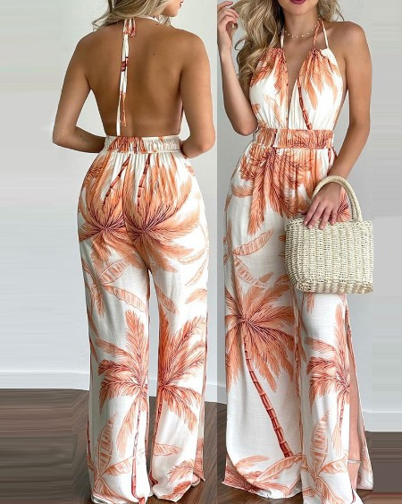 Tropical Print Halter V Neck Jumpsuit