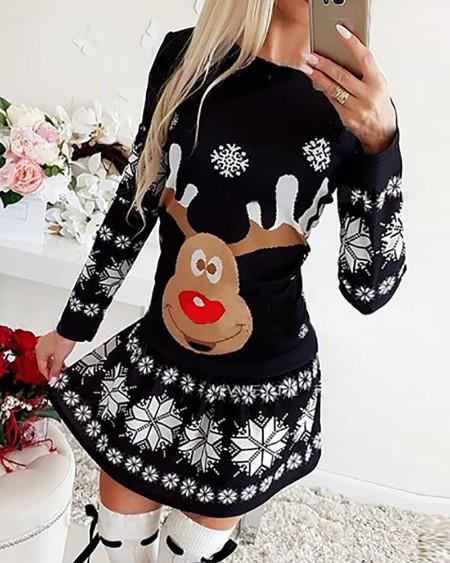 Christmas Moose Snowflake Print Long Sleeve Dress