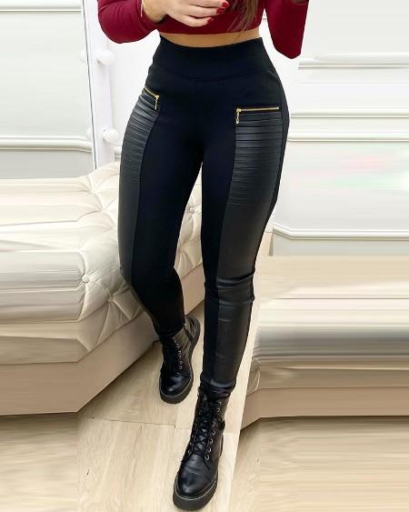 PU Leather Contrast Zipper Design High Waist Skinny Pants