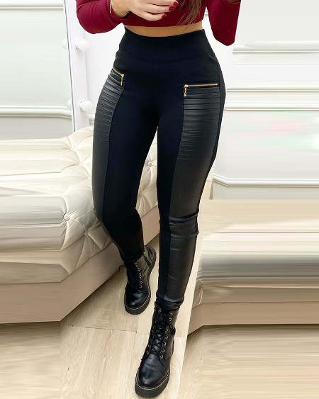PU Leather Contrast Zipper Design High Waist Skinny Pants