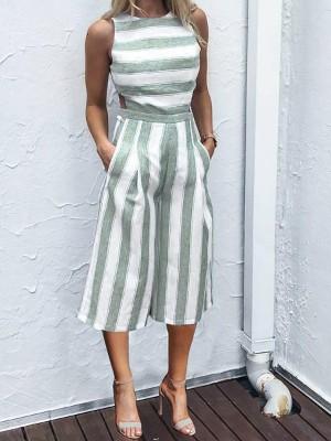 Striped Cutout Waist Wide Leg Jumpsuit