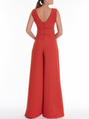 Double V Wide Leg Split Belted Solid Jumpsuit