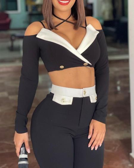 Crisscross Colorblock Long Sleeve Top & Skinny Pants Set
