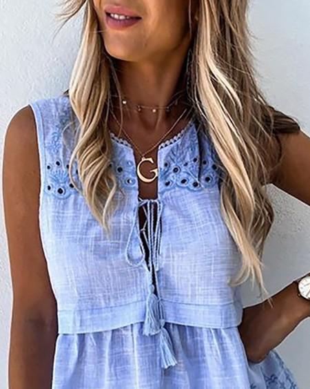 Crochet Lace Tassel Design Tank Top