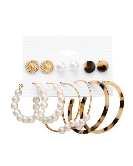 6 Pairs Beaded Hoop Ear Cuff Earring Set