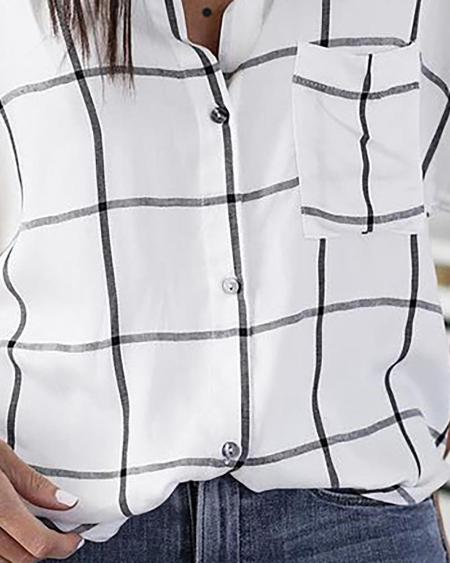 boutiquefeel / Short Sleeve Grid Print Casual Blouse