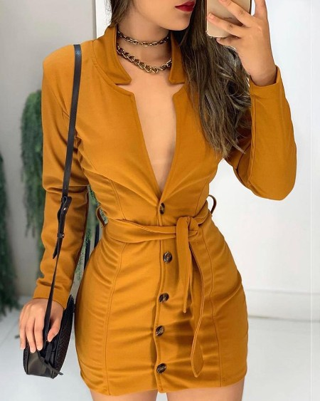 Long Sleeve Plunge Buttoned Bodycon Dress
