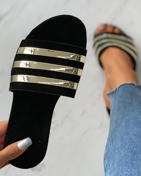 Colorblock Open Toe Reflective Detail Flat Sandals