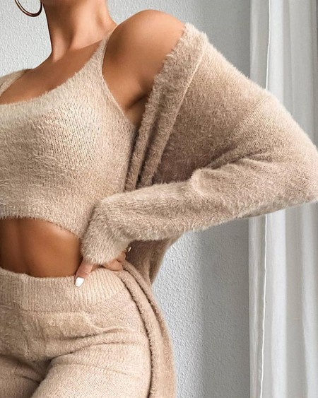 Fluffy Plain Crop Top & Skinny Pants & Longline Coat Set