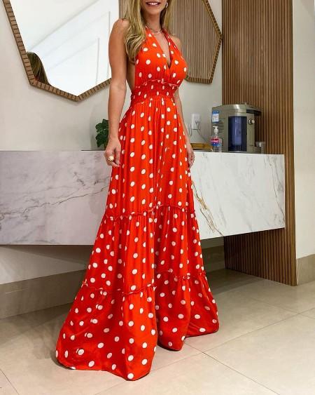 Polka Dot Print Halter Sleeveless Dress