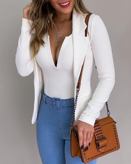 Solid Bodysuit &Long Sleeve Blazer Coat Set