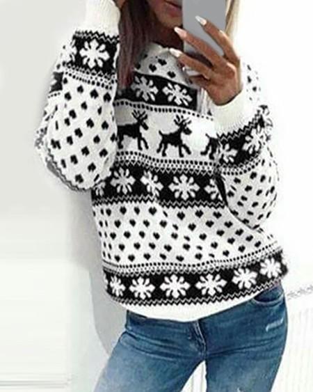 Christmas Snowflake Moose Print Sweater