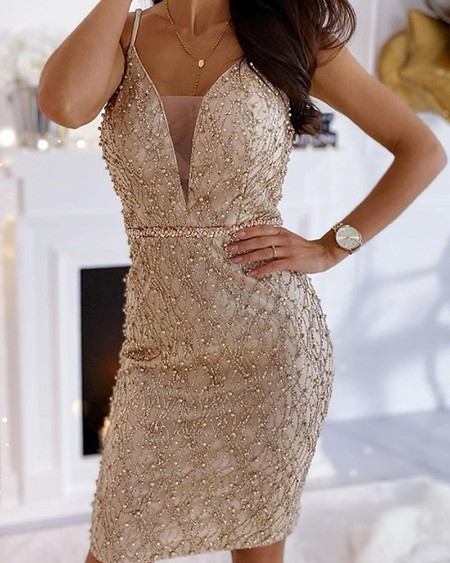 Studded Mesh Insert Mini Dress