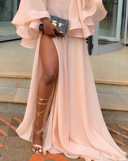 Solid Ruffles Cuff High Slit Maxi Dress