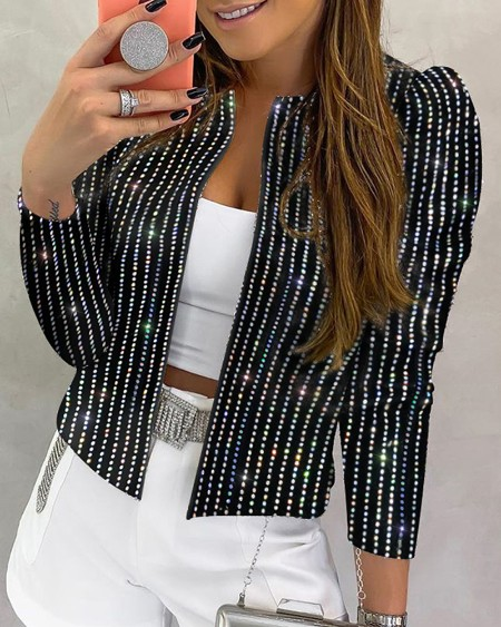 Sequins Striped Long Sleeve Coat