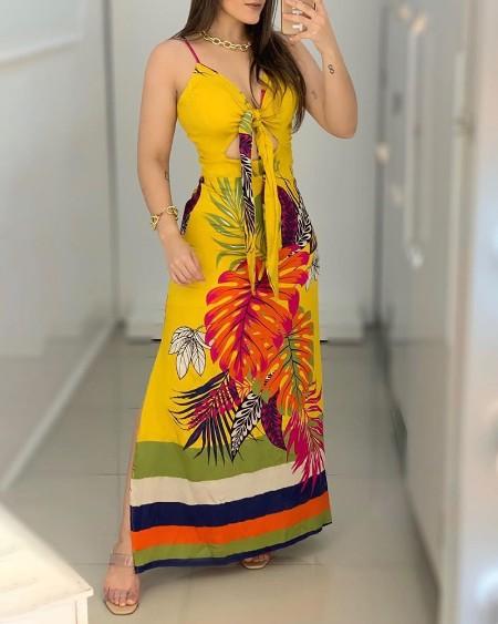 Palm Leaf Print Cutout Tie Front Slit Maxi Dress
