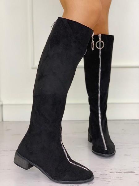 O-Ring Zipper Design Suede Boots