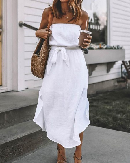 Bandeau Tie Waist Casual Midi Dress
