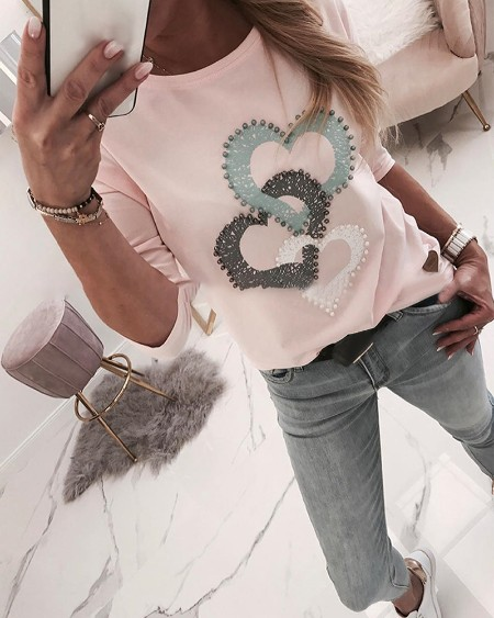 Beaded Heart Print Round Neck Long Sleeve T-shirt
