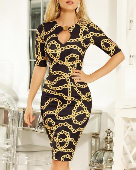 Chain Print Short Sleeve Package Hip Dress