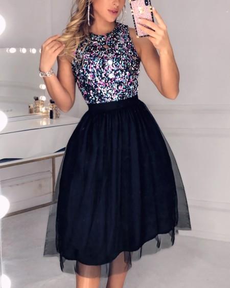 Sleeveless Sequins Colorblock Mesh Insert Ruffles Ruched Dress