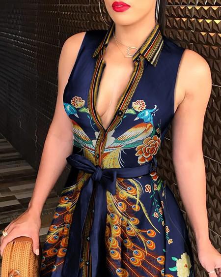 Peacock Floral Print Tie Waist Sleeveless Shirt Dress
