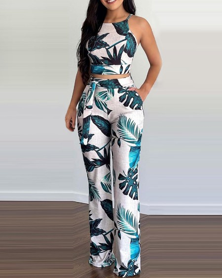 Tropical Print Top & Pants Set