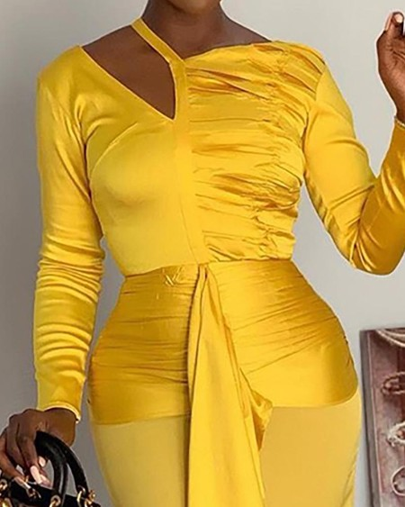 Solid Irregular Ruched Cut Out Detail Dress