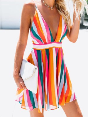 Rainbow Striped Spaghetti Strap Backless Mini Dress