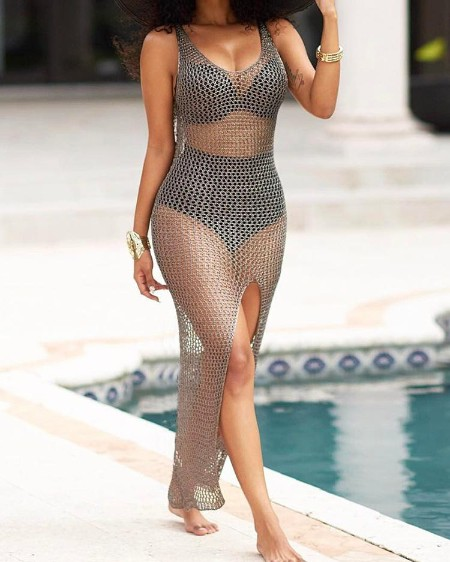 Seductive Transparent Mesh High Slit Maxi Dress