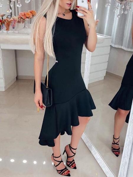 Solid Ruffles Irregular Hem Bodycon Dress