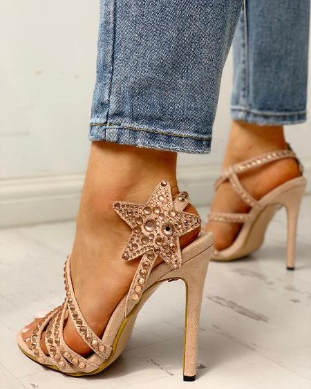 boutiquefeel / Studded Star Pattern Thin Heeled Sandals
