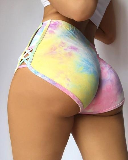 Tie Dye Print High Waist Bandage Shorts