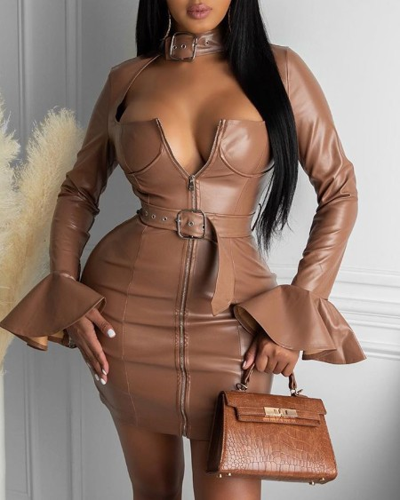 PU Leather Bell Sleeve Bodycon Dress
