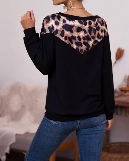 Leopard Patchwork One Shoulder Long Sleeve Tops