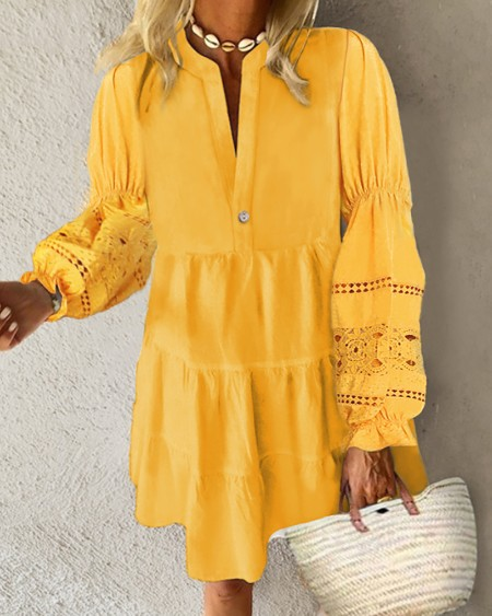 Crochet Lace Lantern Sleeve Ruched Casual Dress